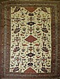 Good older Northern Persian flat-woven area rug dec. w/ birds & animals 4'6