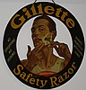 Gillette Safety Razor dbl sided die-cut tin litho
