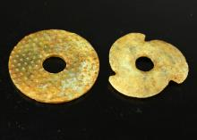 (2)  TWO PIECES OF CHINESE ANCIENT CARVED JADE DISCS.