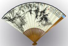 Chinese painted on paper fan by Xu Zonghao (1880-1957)