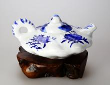 Chinese Blue and White Glazed Porcelain teapot