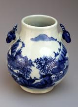 Chinese Blue and White Porcelain Deer Head Handles Vase