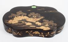 CHINESE SHAPED GILT DECORATION LACQUER BOX