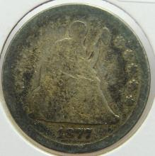 1877-CC Seated Liberty Quarter