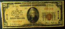 1929 $20.00 National Note Plymouth Indiana