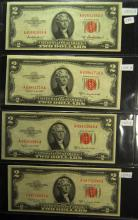 4 1953 series $2.00 Red Seal Notes
