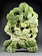 Chinese Jade Carving of Popeyed Goldfish and Waves
