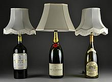 (3) Unusual Champagne & Wine Bottle Lamps