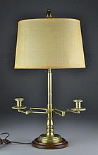 An Unusual Brass and Turned Wood Twin Candlestick Lamp