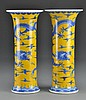 Pr. Chinese Blue & Yellow Porcelain Vases