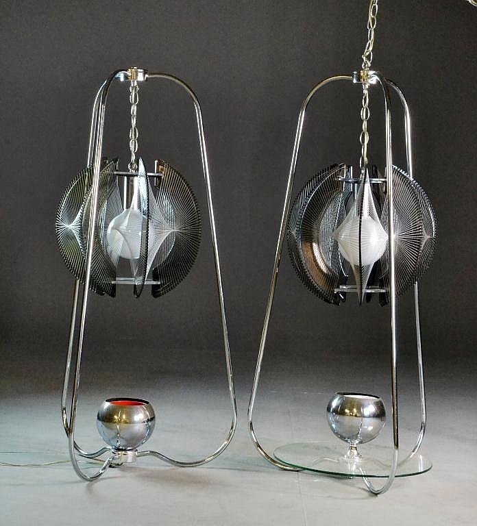 (2) Mid-Century Modern Lucite & Chrome Lamps