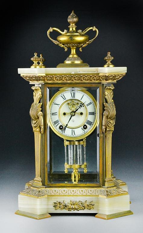 Antique Ansonia Gilt, Bronze & Onyx Mantle Clock