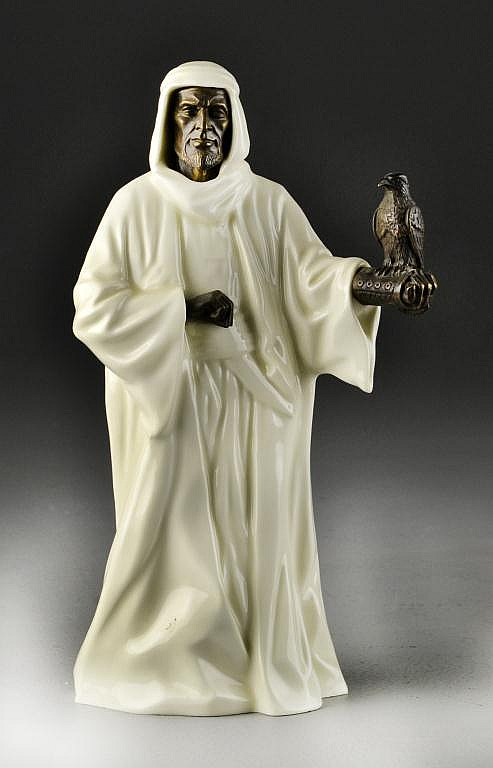 Minton Porcelain & Bronze Sheikh with Falcon