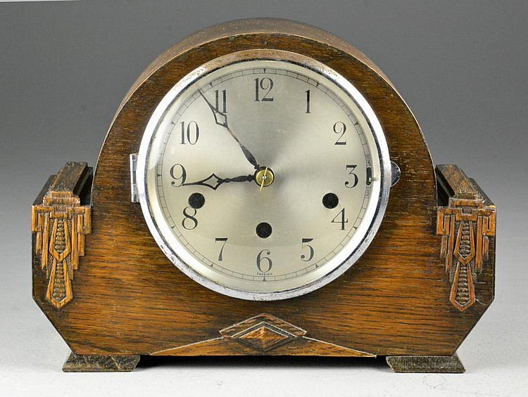 Foreign Oak Art Deco Mantle Clock