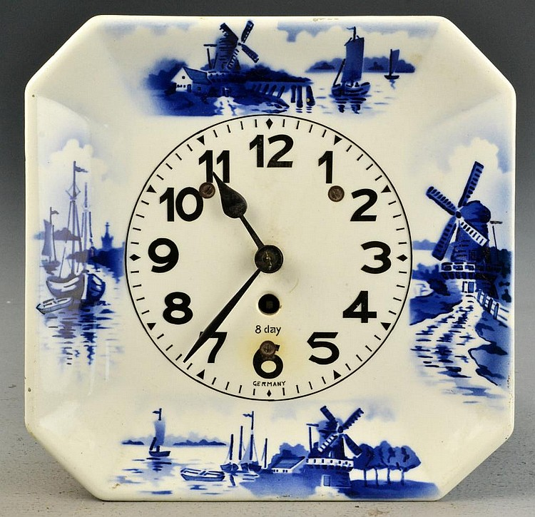 German Delft Porcelain Clock