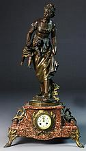 Eutrope Bouret French Spelter & Marble Clock