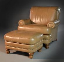 (2) Smith Brothers Leather Armchair & Ottoman