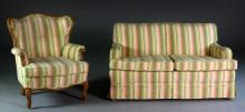 (2) Pc French Provincial Settee & Armchair