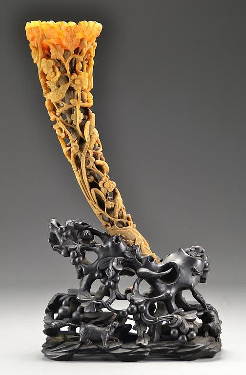 A Full Tip Rhinoceros Horn Carving Qing Dynasty 19th C.