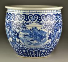 Large Chinese Blue & White Porcelain Fish Bowl