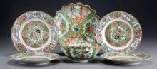 (6) Pcs Chinese Rose Medallion Porcelain
