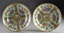 (2) Chinese Rose Canton Porcelain Soup Bowls