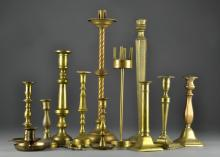 (13) 19th C. English Candlesticks & Wick Cover