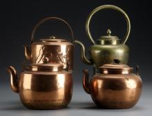 (4) Asian Brass Teapots