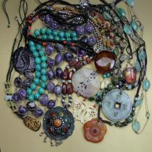(12) Chinese & Various Hardstone Necklaces & Pendants