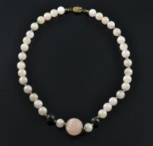 Chinese Carved Rose Quartz & Gilt Silver Necklace