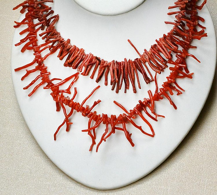 (2) Chinese Coral Branch Necklaces