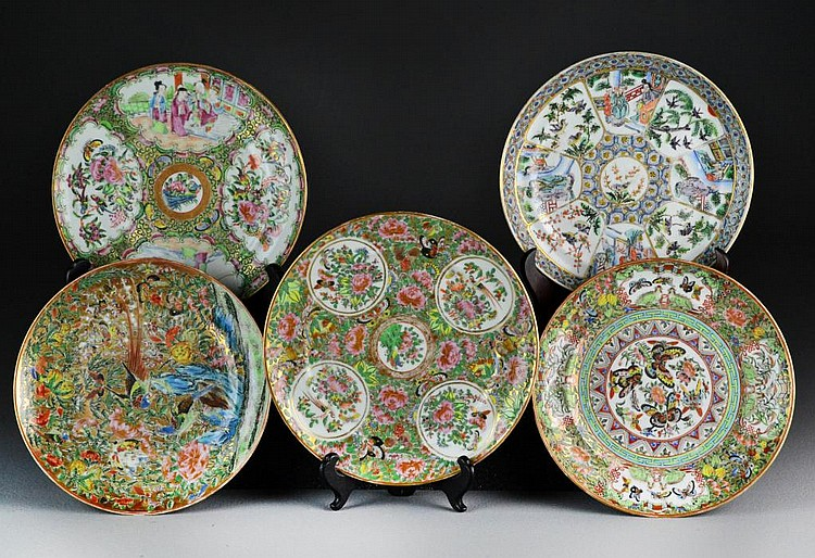 (5) Chinese Republic Famille Rose Porcelain Plates