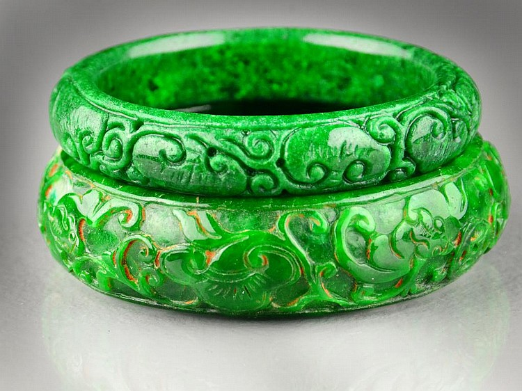(2) Chinese Jade Bangle Bracelets