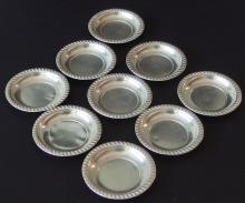 NATIONAL STERLING SILVER NUT DISHES (9)
