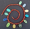 EGYPTIAN FAIENCE AMARNA RING BEZEL NECKLACE