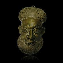 Cameroon Bronze mask of official, Grasslands style