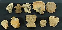 10 Pre-columbian West Mexican Pottery Heads