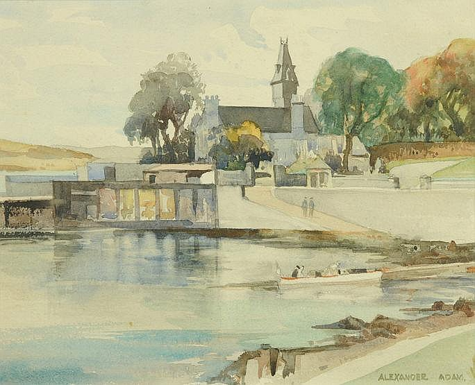 Alexander Adam, a watercolour, a harbour and
