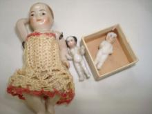 3 Miniature Porcelain/Bisque Dolls