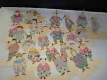 24 Chinese Paper Dolls with Fabric Costumes