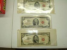 2 Large 5 Dollar Red Seal Note Series 1953
