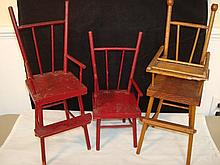 3 Vintage Handmade Doll Chairs
