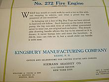 Kingsbury Brochure Display Art Fire Pumper Truck