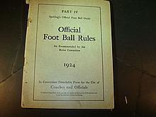 Official Foot Ball Rules 1924 Part  IV Booklet