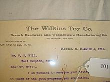Wilkins Toy Co Correspondence with N.N. Hill