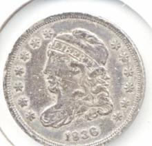 1836 Liberty Cap Half Dime - Small 5 C XF