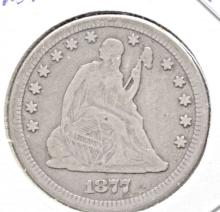 1877 CC Seated Liberty Quarter - F