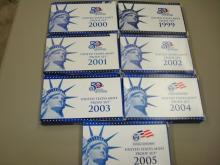 7 US Mint Coin Proof Sets 1999-2005 State Quarters