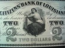 2 Dollar Citizens Bank of Louisiana note 1800's