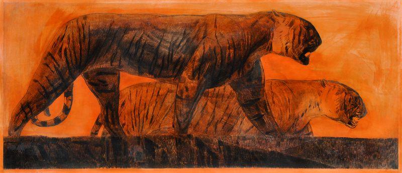 Paul JOUVE 1878 -1974 - Deux tigres marchant , circa 1925